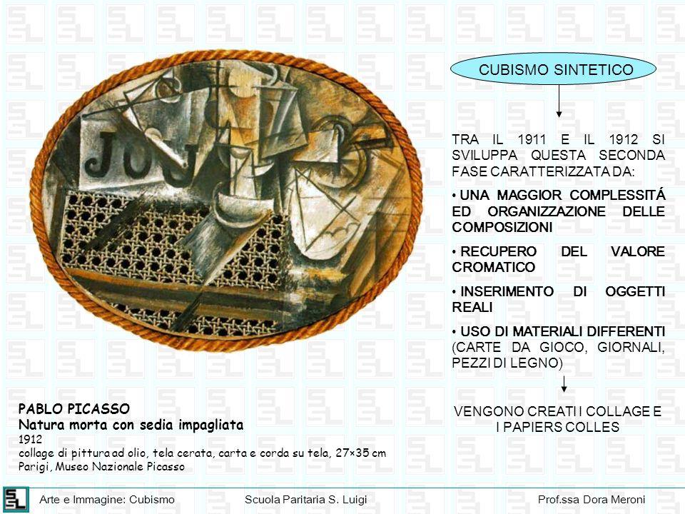 Arte e Immagine: CubismoScuola Paritaria S. LuigiProf.ssa Dora Meroni CUBISMO SINTETICO TRA IL 1911 E IL 1912 SI SVILUPPA QUESTA SECONDA FASE CARATTER