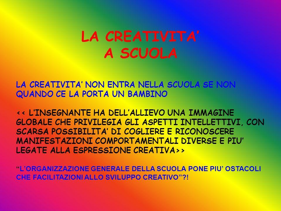 LA CREATIVITA NON ENTRA NELLA SCUOLA SE NON QUANDO CE LA PORTA UN BAMBINO > LORGANIZZAZIONE GENERALE DELLA SCUOLA PONE PIU OSTACOLI CHE FACILITAZIONI