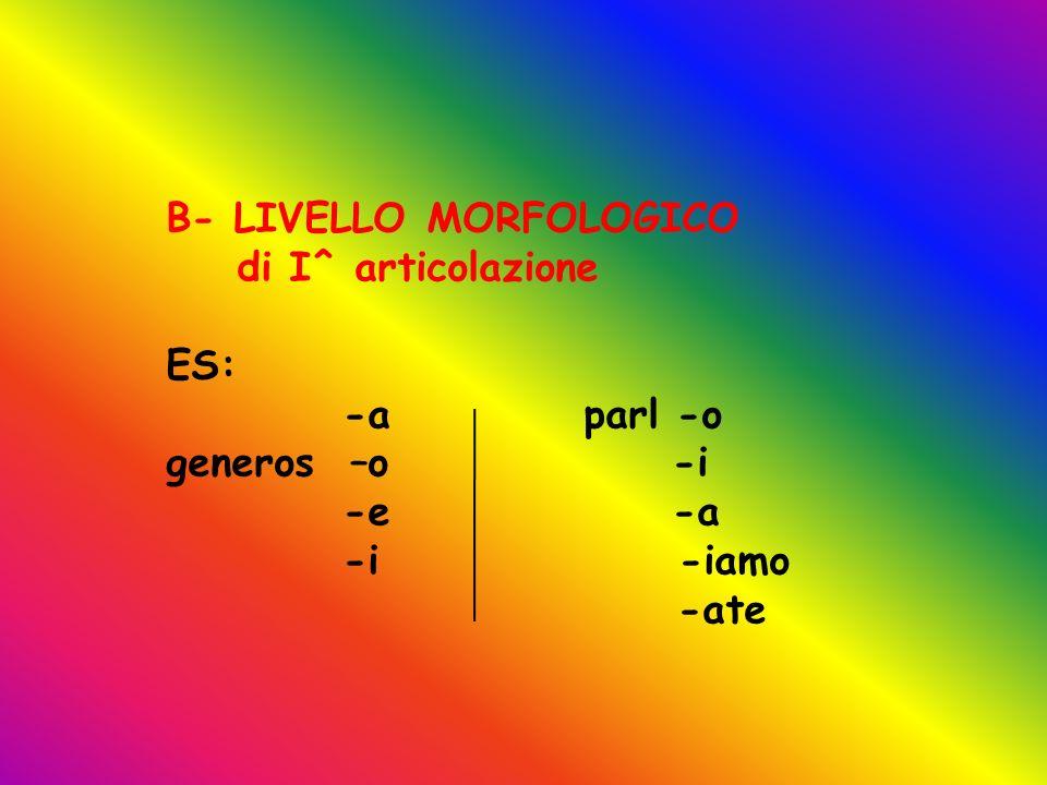B- LIVELLO MORFOLOGICO di I^ articolazione ES: -a parl -o generos –o -i -e -a -i -iamo -ate