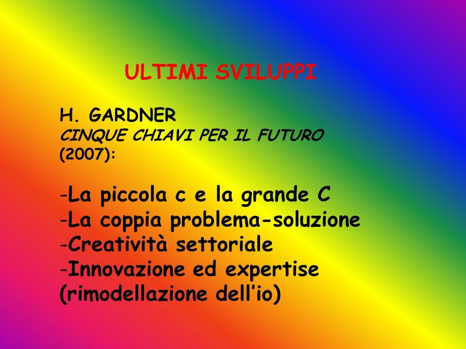 H. GARDNER CINQUE CHIAVI PER IL FUTURO (2007): -La piccola c e la grande C -La coppia problema-soluzione -Creatività settoriale -Innovazione ed expert