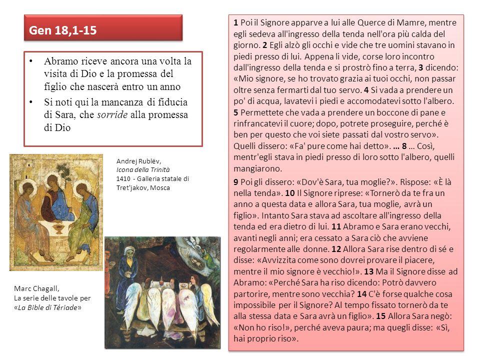 Gen 18,1-15 1 Poi il Signore apparve a lui alle Querce di Mamre, mentre egli sedeva all'ingresso della tenda nell'ora più calda del giorno. 2 Egli alz