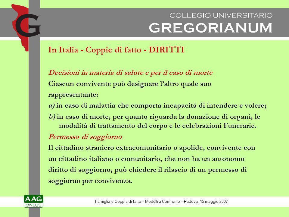 In Italia - Coppie di fatto - DIRITTI Decisioni in materia di salute e per il caso di morte Ciascun convivente può designare laltro quale suo rapprese