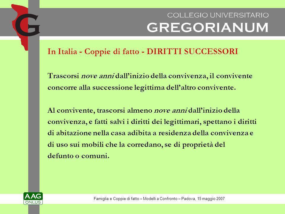 In Italia - Coppie di fatto - DIRITTI SUCCESSORI Trascorsi nove anni dallinizio della convivenza, il convivente concorre alla successione legittima de