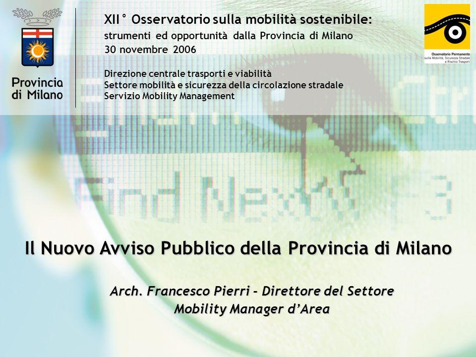 XII° Osservatorio sulla mobilità sostenibile: strumenti ed opportunità dalla Provincia di Milano 30 novembre 2006 Il Nuovo Avviso Pubblico della Provincia di Milano Arch.