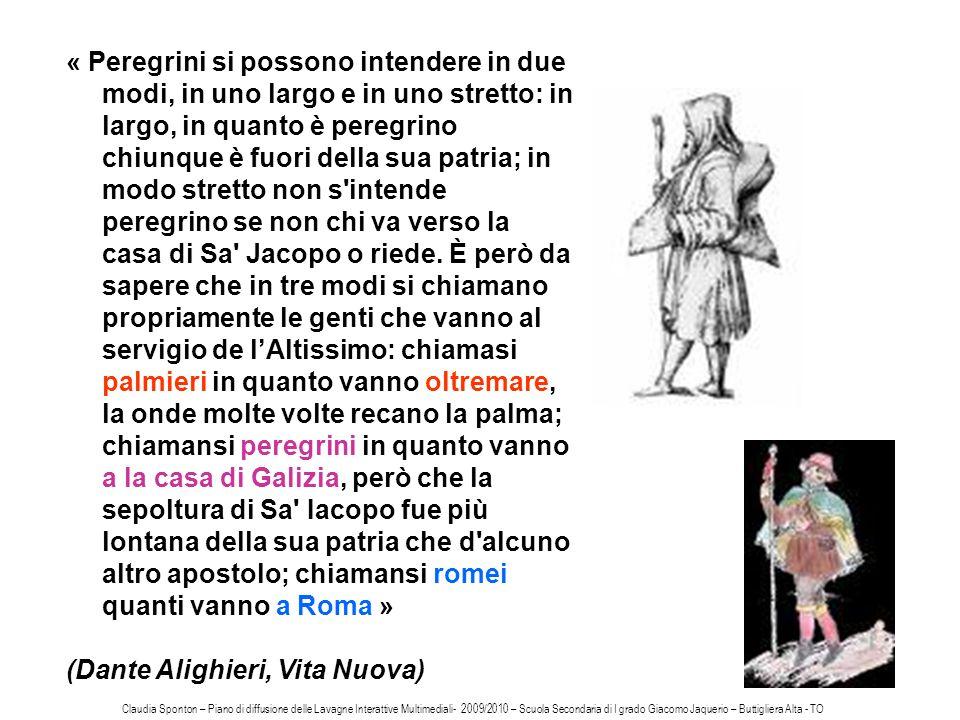 « Peregrini si possono intendere in due modi, in uno largo e in uno stretto: in largo, in quanto è peregrino chiunque è fuori della sua patria; in mod