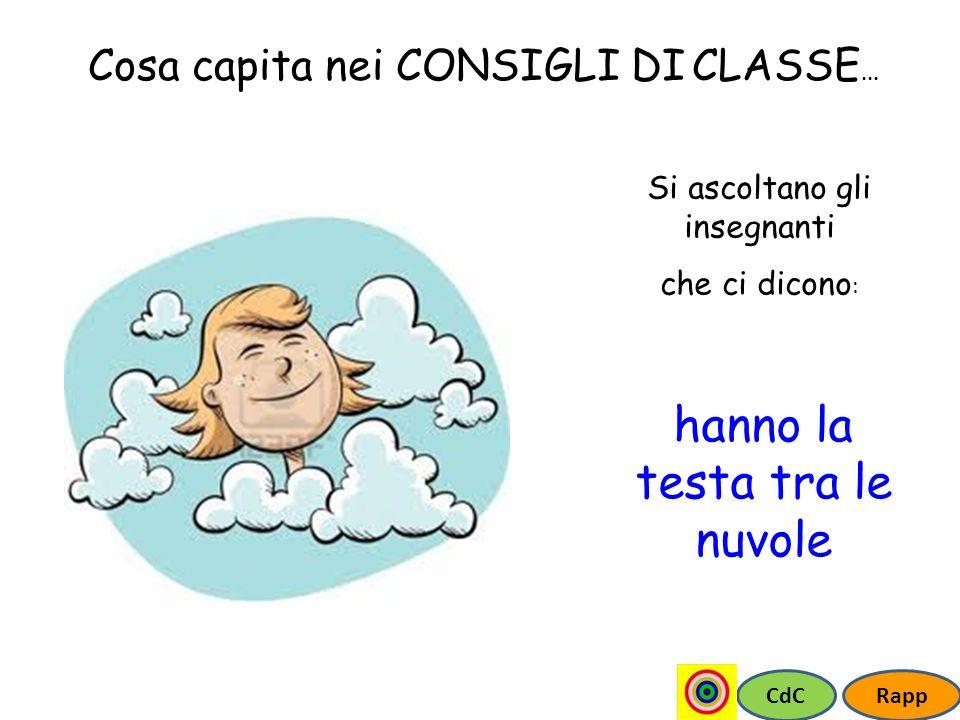 CdCRapp Cosa capita nei CONSIGLI DI CLASSE... Si ascoltano gli insegnanti che ci dicono : hanno la testa tra le nuvole