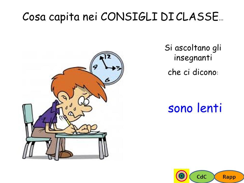 CdCRapp Cosa capita nei CONSIGLI DI CLASSE... Si ascoltano gli insegnanti che ci dicono : sono lenti
