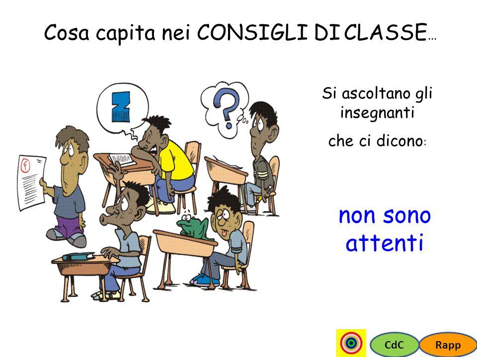 CdCRapp Cosa capita nei CONSIGLI DI CLASSE... Si ascoltano gli insegnanti che ci dicono : non sono attenti