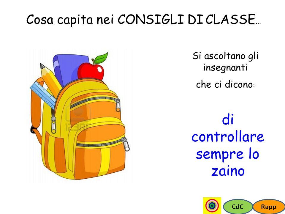 CdCRapp Cosa capita nei CONSIGLI DI CLASSE... Si ascoltano gli insegnanti che ci dicono : di controllare sempre lo zaino