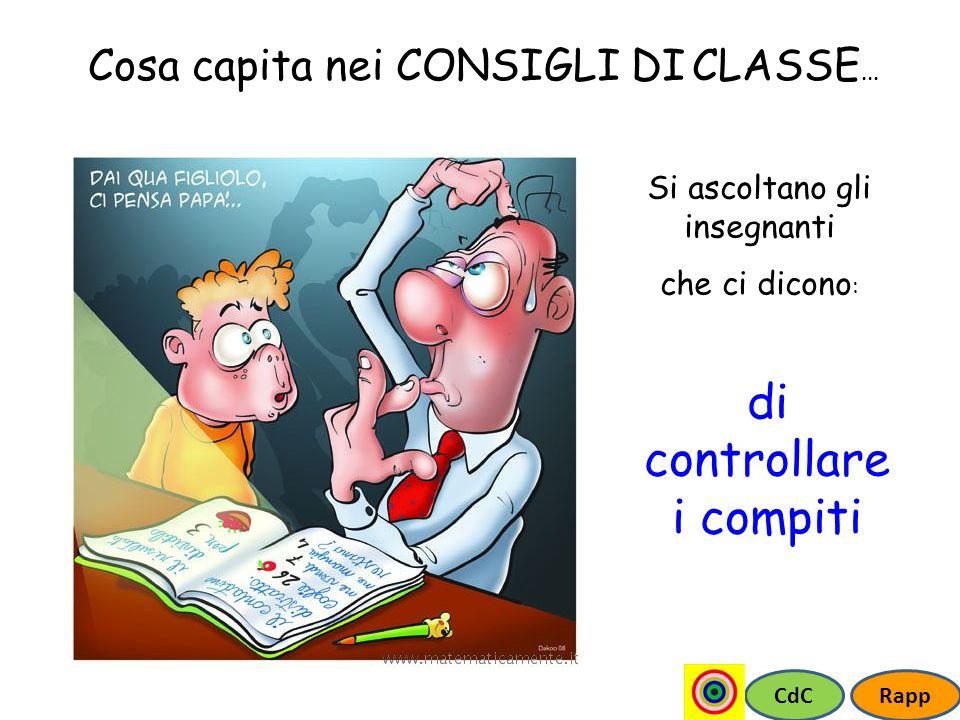 CdCRapp Cosa capita nei CONSIGLI DI CLASSE... Si ascoltano gli insegnanti che ci dicono : di controllare i compiti