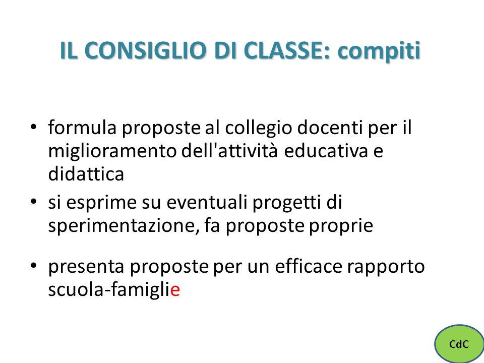 IL CONSIGLIO DI CLASSE: compiti formula proposte al collegio docenti per il miglioramento dell'attività educativa e didattica si esprime su eventuali