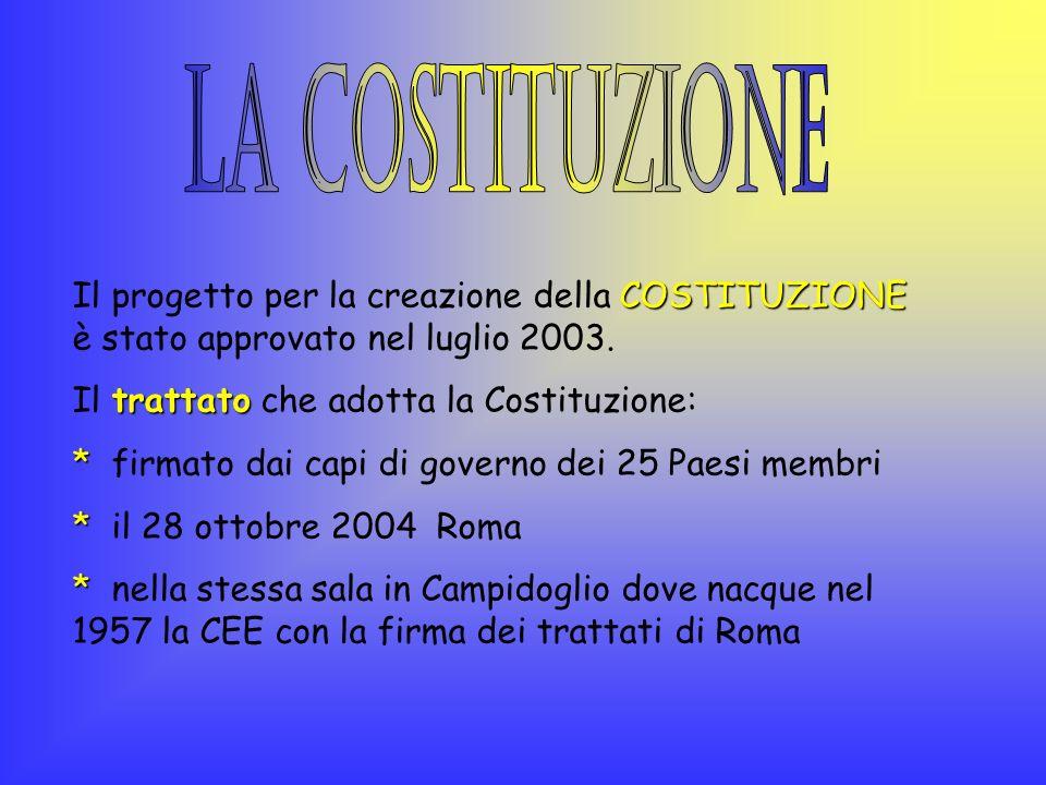 COSTITUZIONE Il progetto per la creazione della COSTITUZIONE è stato approvato nel luglio 2003. trattato Il trattato che adotta la Costituzione: * * f