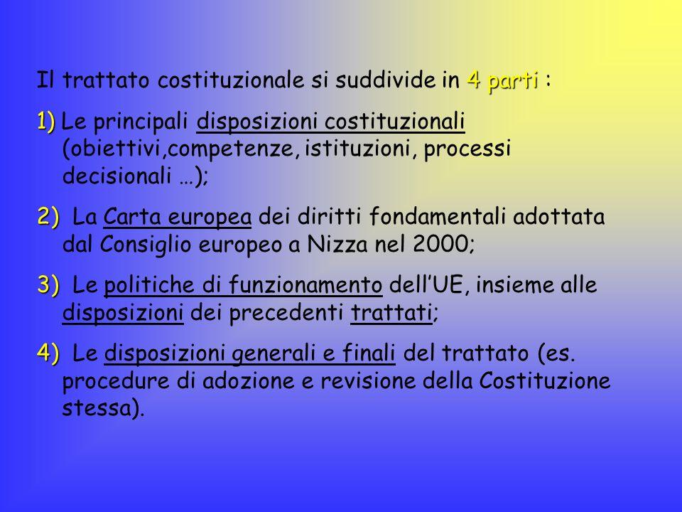 4 parti Il trattato costituzionale si suddivide in 4 parti : 1) 1) Le principali disposizioni costituzionali (obiettivi,competenze, istituzioni, proce