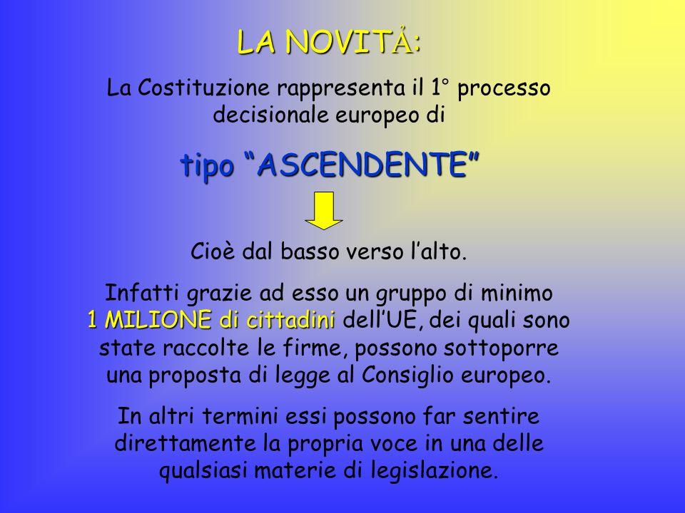 LA NOVIT: La Costituzione rappresenta il 1° processo decisionale europeo di tipo ASCENDENTE Cioè dal basso verso l alto. Infatti grazie ad esso un gru