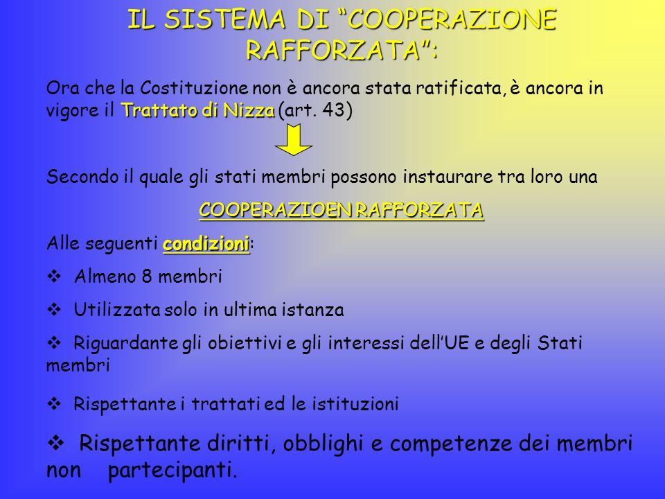 IL SISTEMA DI COOPERAZIONE RAFFORZATA: Ora che la Costituzione non è ancora stata ratificata, è ancora in vigore il T TT Trattato di Nizza (art. 43) S