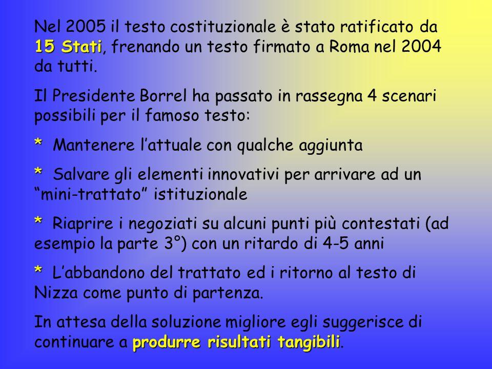 15 Stati Nel 2005 il testo costituzionale è stato ratificato da 15 Stati, frenando un testo firmato a Roma nel 2004 da tutti. Il Presidente Borrel ha