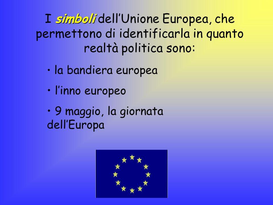 simboli I simboli dellUnione Europea, che permettono di identificarla in quanto realtà politica sono: la bandiera europea linno europeo 9 maggio, la g
