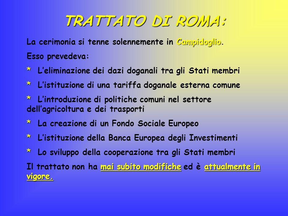 TRATTATO DI ROMA: Campidoglio La cerimonia si tenne solennemente in Campidoglio. Esso prevedeva: * * Leliminazione dei dazi doganali tra gli Stati mem
