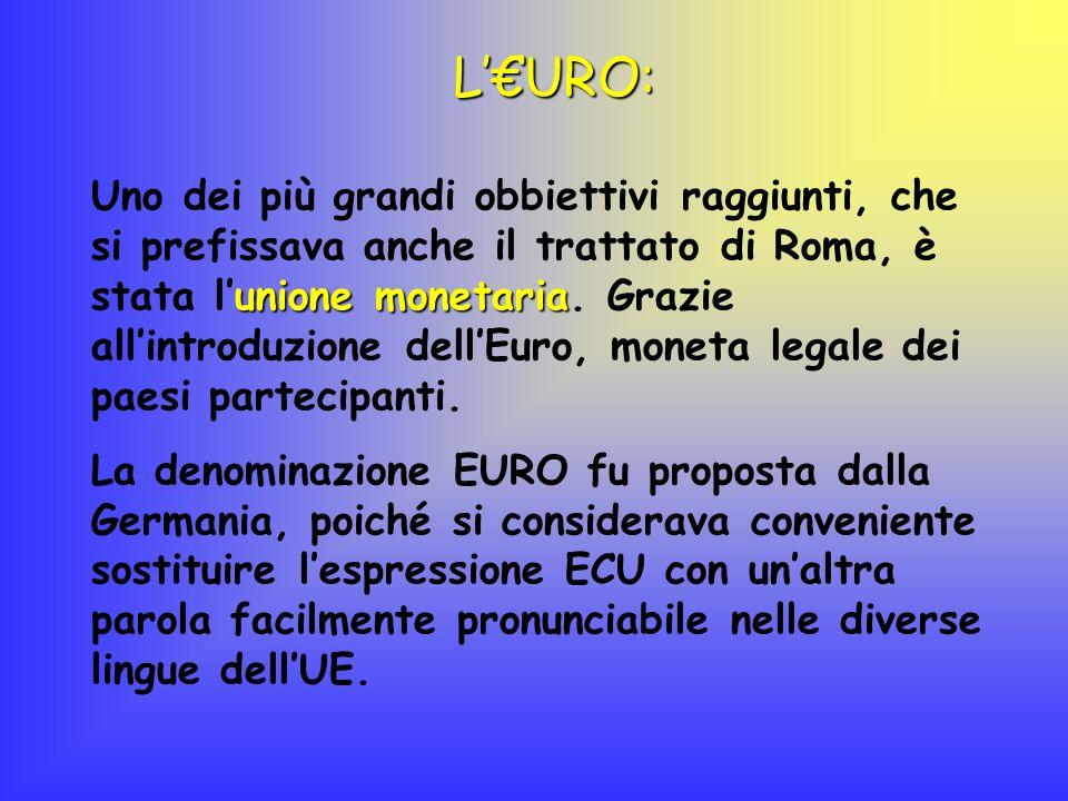 LURO: unione monetaria Uno dei più grandi obbiettivi raggiunti, che si prefissava anche il trattato di Roma, è stata lunione monetaria. Grazie allintr