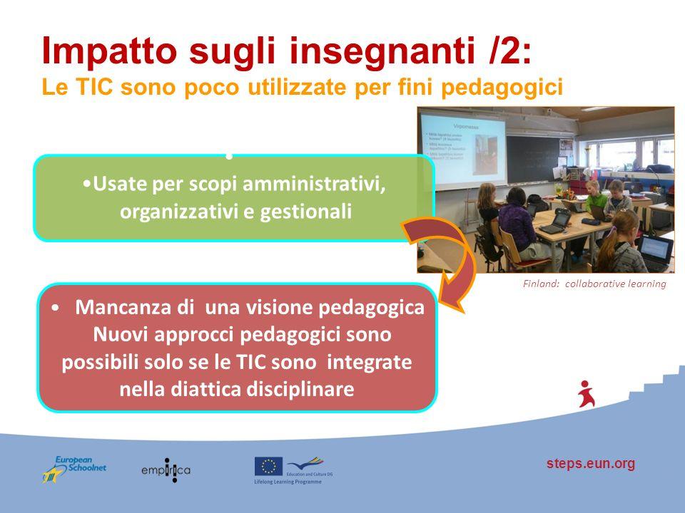 steps.eun.org Impatto sugli insegnanti /2: Le TIC sono poco utilizzate per fini pedagogici Mancanza di una visione pedagogica Nuovi approcci pedagogic