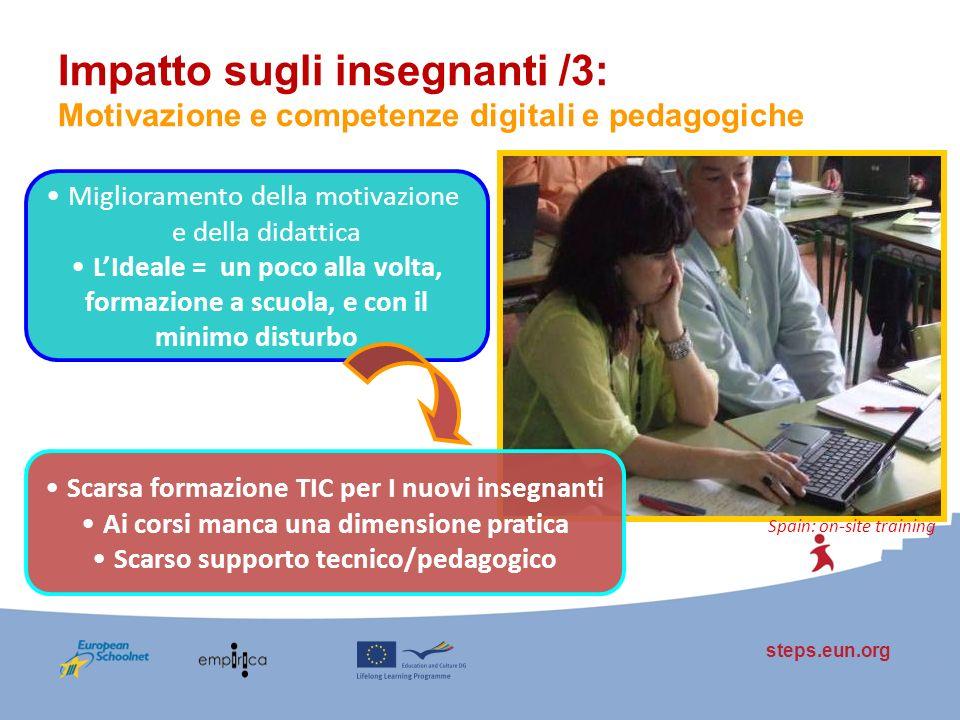 steps.eun.org Impatto sugli insegnanti /3: Motivazione e competenze digitali e pedagogiche Spain: on-site training Miglioramento della motivazione e d