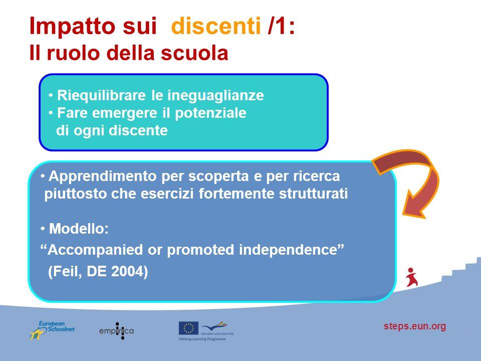 steps.eun.org Impatto sui discenti /1: Il ruolo della scuola Riequilibrare le ineguaglianze Fare emergere il potenziale di ogni discente Apprendimento