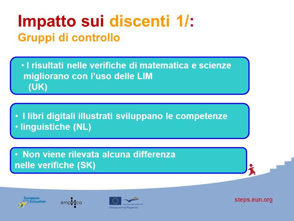 steps.eun.org Impatto sui discenti 1/: Gruppi di controllo I risultati nelle verifiche di matematica e scienze migliorano con luso delle LIM (UK) I li