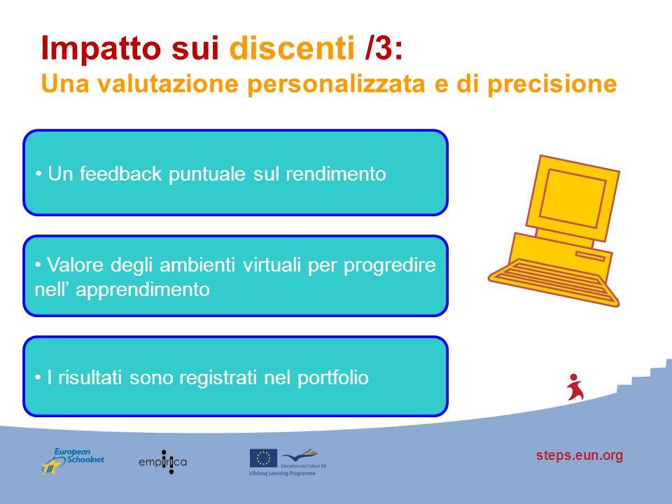 steps.eun.org Impatto sui discenti /3: Una valutazione personalizzata e di precisione Un feedback puntuale sul rendimento Valore degli ambienti virtua