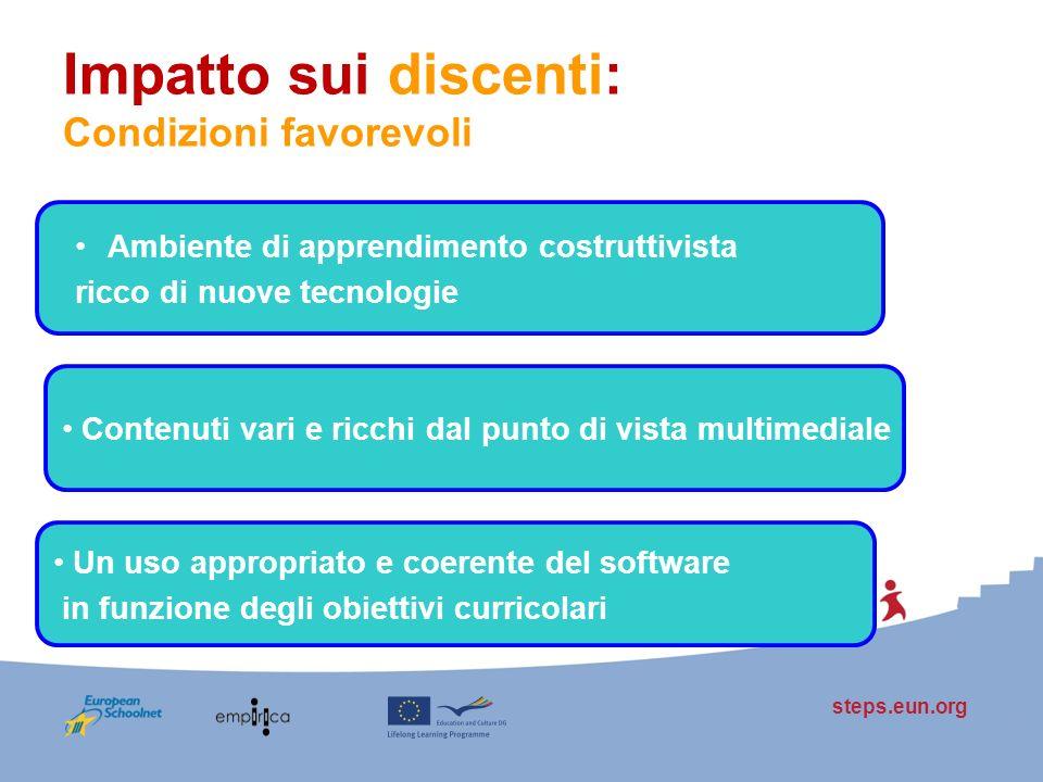 steps.eun.org Impatto sui discenti: Condizioni favorevoli Ambiente di apprendimento costruttivista ricco di nuove tecnologie Contenuti vari e ricchi d