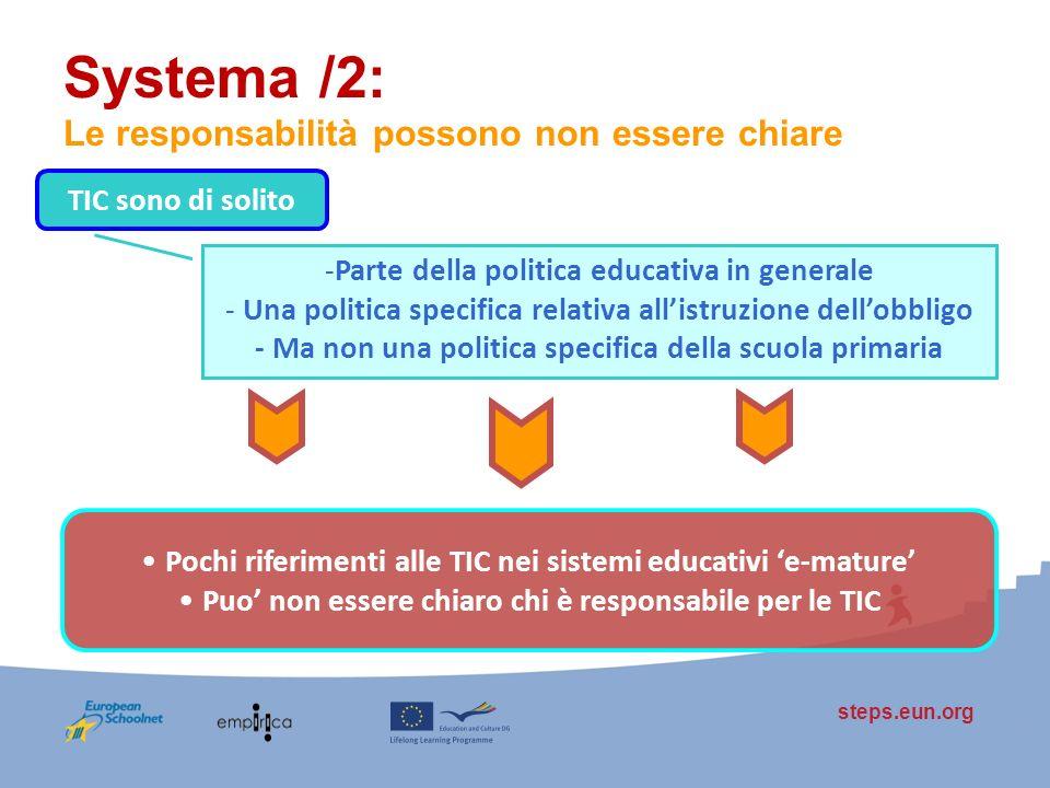 steps.eun.org Systema /2: Le responsabilità possono non essere chiare TIC sono di solito -Parte della politica educativa in generale - Una politica sp