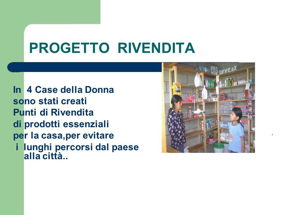 PROGETTO RIVENDITA In 4 Case della Donna sono stati creati Punti di Rivendita di prodotti essenziali per la casa,per evitare i lunghi percorsi dal pae