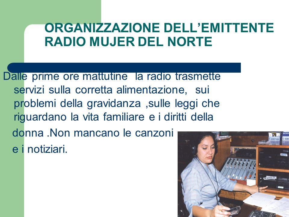 ORGANIZZAZIONE DELLEMITTENTE RADIO MUJER DEL NORTE Dalle prime ore mattutine la radio trasmette servizi sulla corretta alimentazione, sui problemi del