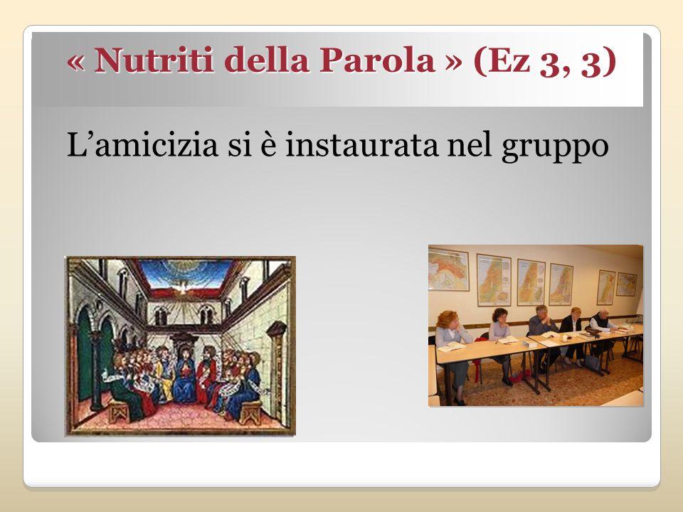 « Nutriti della Parola » (Ez 3, 3) Lamicizia si è instaurata nel gruppo