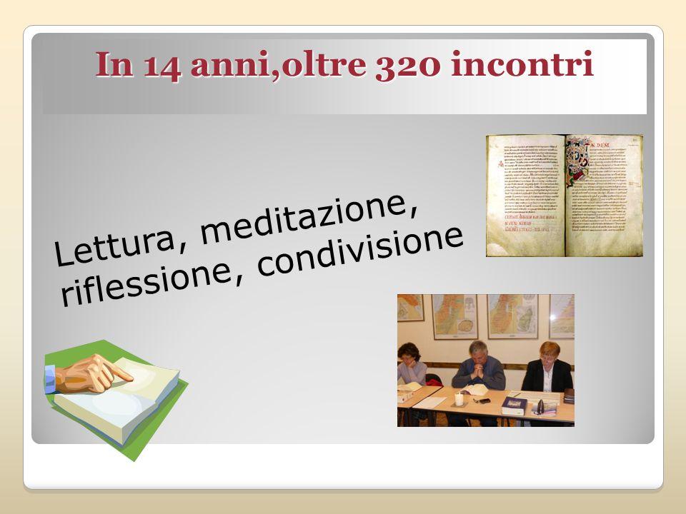 Lettura, meditazione, riflessione, condivisione In 14 anni,oltre 320 incontri