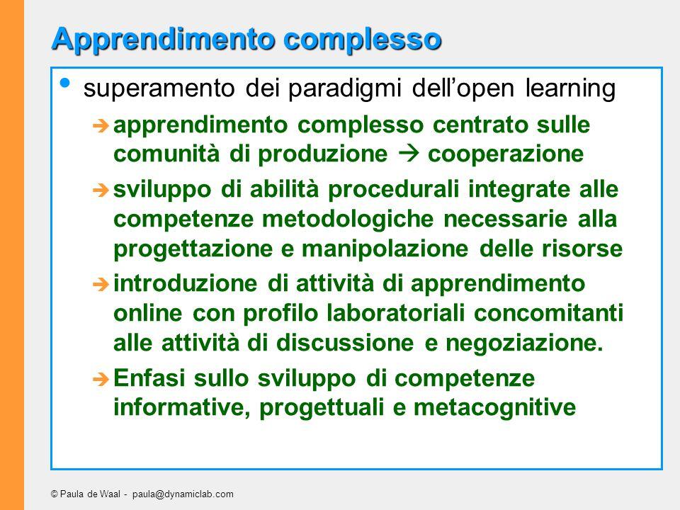 © Paula de Waal - paula@dynamiclab.com Apprendimento complesso superamento dei paradigmi dellopen learning apprendimento complesso centrato sulle comu