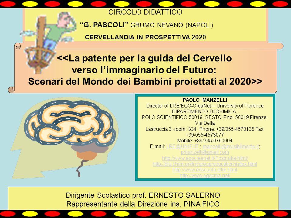 <<La patente per la guida del Cervello verso limmaginario del Futuro: Scenari del Mondo dei Bambini proiettati al 2020>> CIRCOLO DIDATTICO G.