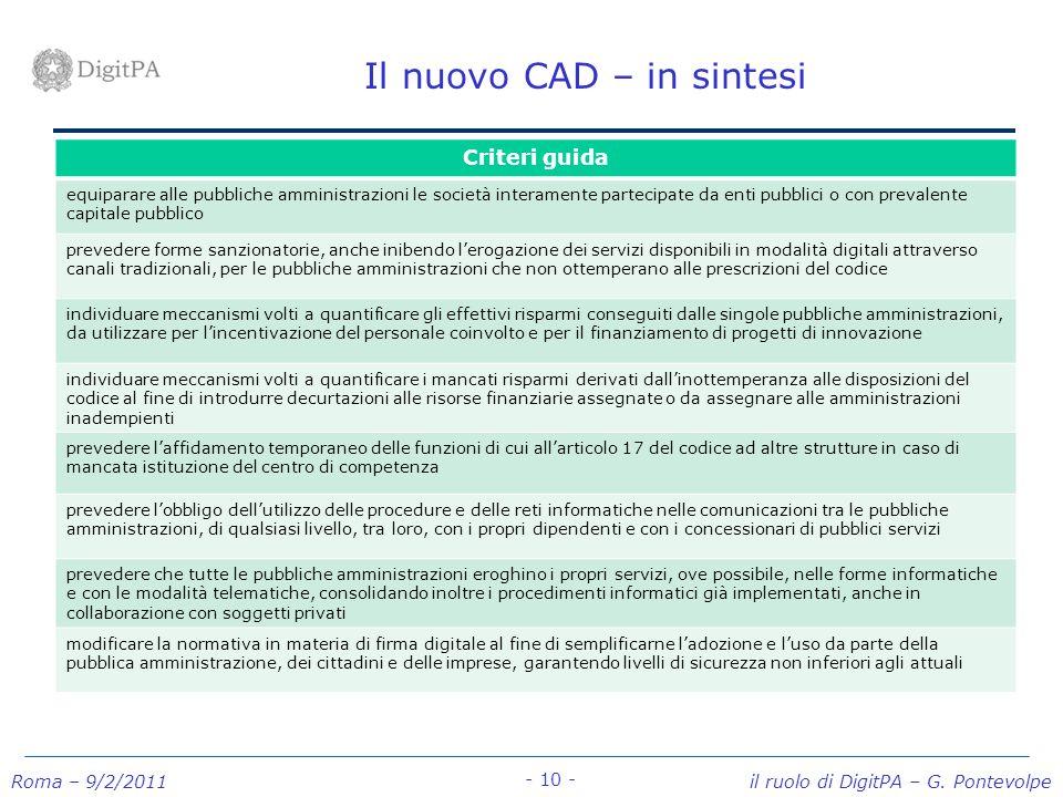 Roma – 9/2/2011 il ruolo di DigitPA – G. Pontevolpe - 10 - Il nuovo CAD – in sintesi Criteri guida equiparare alle pubbliche amministrazioni le societ