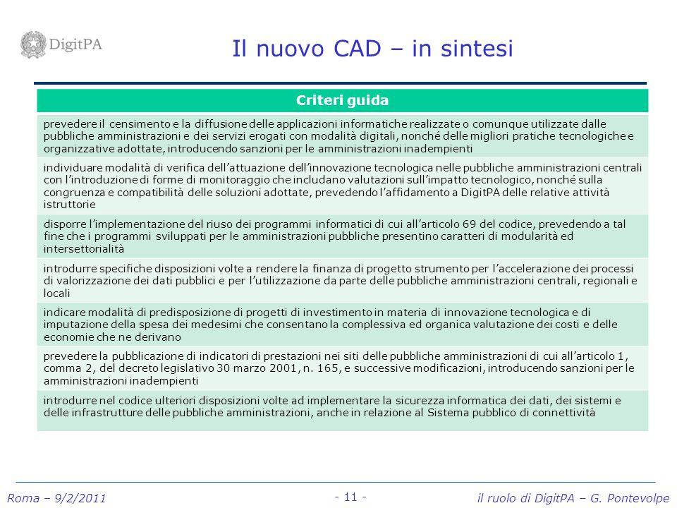 Roma – 9/2/2011 il ruolo di DigitPA – G. Pontevolpe - 11 - Il nuovo CAD – in sintesi Criteri guida prevedere il censimento e la diffusione delle appli