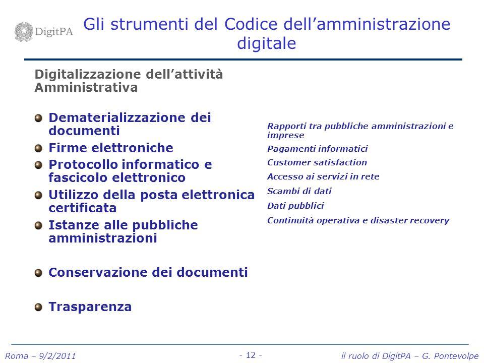 Roma – 9/2/2011 il ruolo di DigitPA – G. Pontevolpe - 12 - Gli strumenti del Codice dellamministrazione digitale Digitalizzazione dellattività Amminis