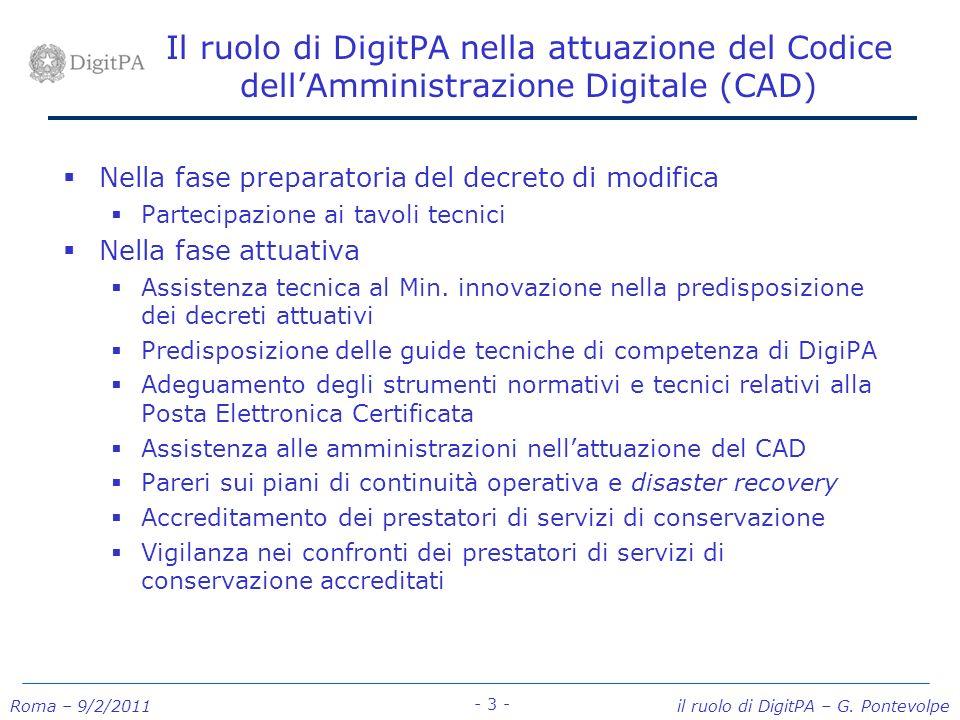 Roma – 9/2/2011 il ruolo di DigitPA – G. Pontevolpe - 3 - Il ruolo di DigitPA nella attuazione del Codice dellAmministrazione Digitale (CAD) Nella fas
