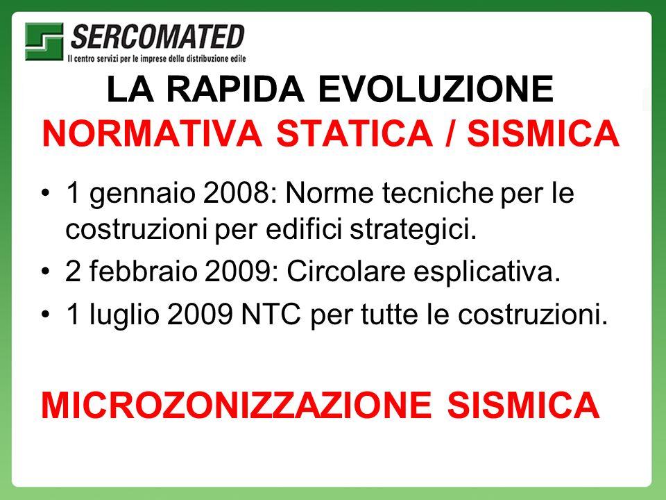 LA RAPIDA EVOLUZIONE NORMATIVA STATICA / SISMICA 1 gennaio 2008: Norme tecniche per le costruzioni per edifici strategici.