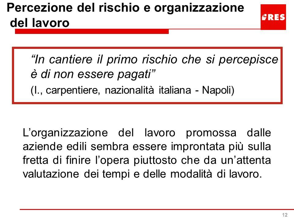 12 Percezione del rischio e organizzazione del lavoro In cantiere il primo rischio che si percepisce è di non essere pagati (I., carpentiere, nazional