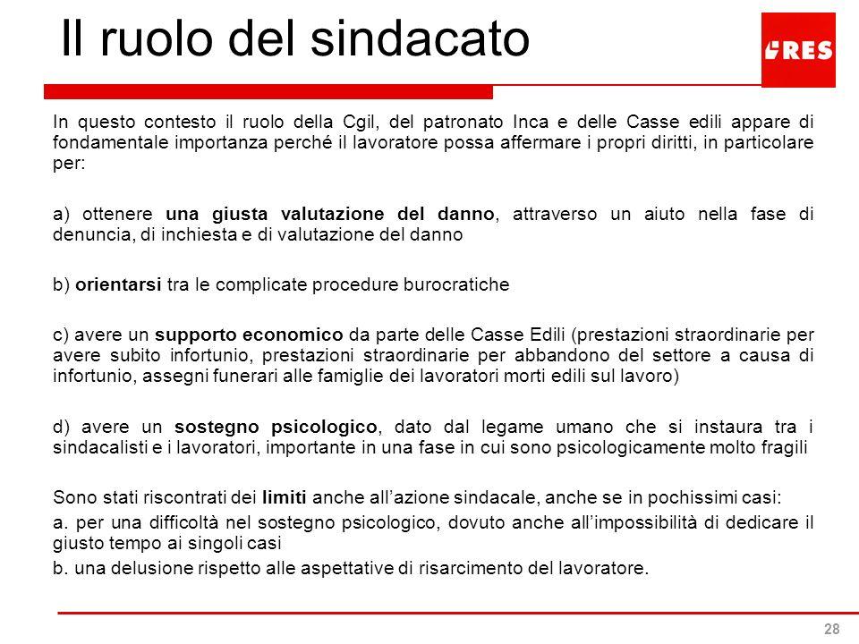 28 Il ruolo del sindacato In questo contesto il ruolo della Cgil, del patronato Inca e delle Casse edili appare di fondamentale importanza perché il l