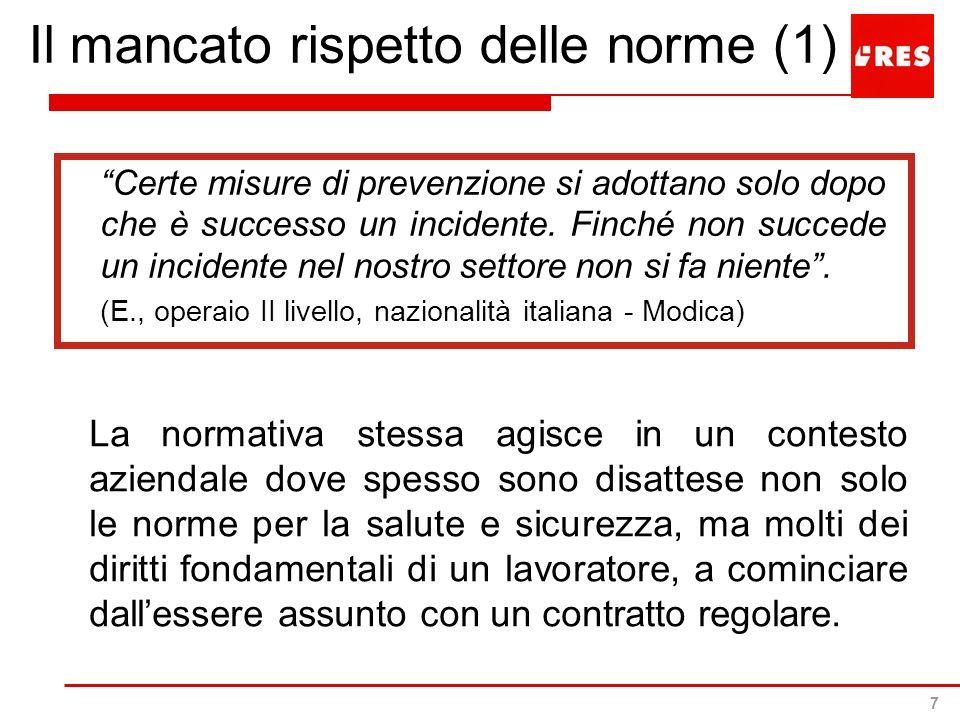 7 Il mancato rispetto delle norme (1) Certe misure di prevenzione si adottano solo dopo che è successo un incidente. Finché non succede un incidente n