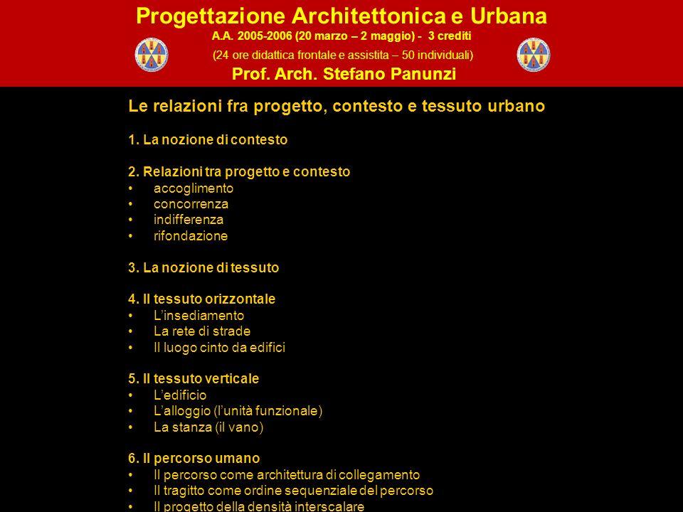 Le relazioni fra progetto, contesto e tessuto urbano 1.