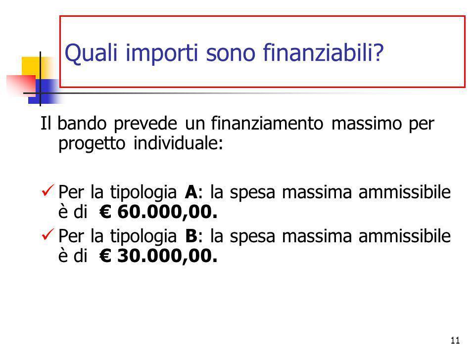 11 Quali importi sono finanziabili.