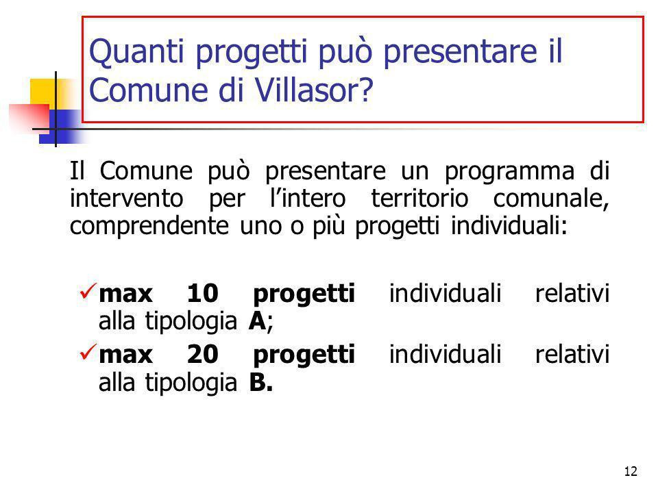 12 Quanti progetti può presentare il Comune di Villasor.