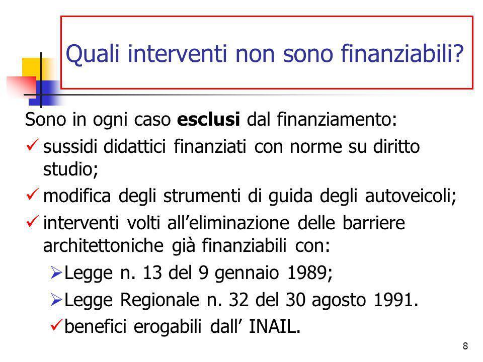 8 Quali interventi non sono finanziabili.