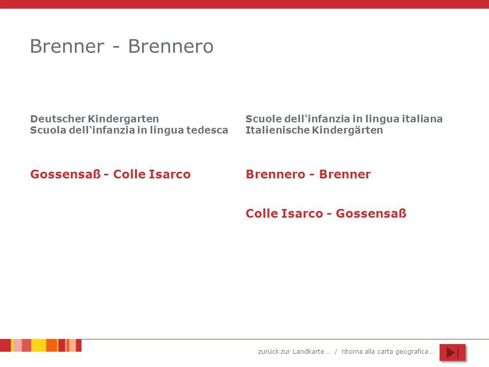 zurück zur Landkarte … / ritorna alla carta geografica … Brenner - Brennero Deutscher Kindergarten Scuola dellinfanzia in lingua tedesca Scuole dellin