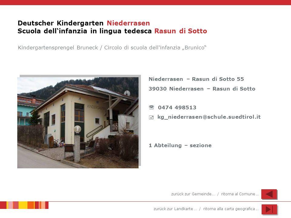 zurück zur Landkarte … / ritorna alla carta geografica … Deutscher Kindergarten Niederrasen Scuola dellinfanzia in lingua tedesca Rasun di Sotto Niede